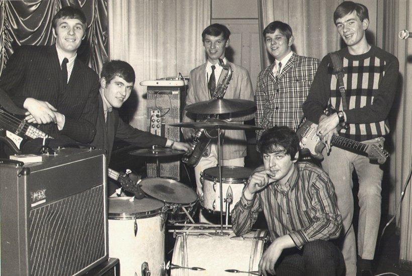 "Mike and Barrie team up with Paul Waterworth on bass, Harvey Capstick on drums, Ken Martin on tenor sax & Don Calverley on keyboards. Burnley Express photo taken at rehearsals at Todmorden Rd school. The Uptown Go-Go Band is born! Theme tune ""Going to a go-go""."