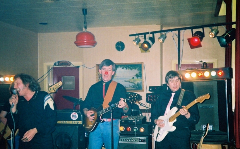Mike playing charity gig with Shades of Rock for Red Nose Day in 1989