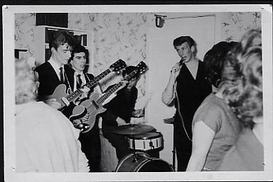 4-piece Dave & The Avalons with Ray Felters on bass & Roy Shoesmith on drums at Halloween party at Reedyford Hospital 1963
