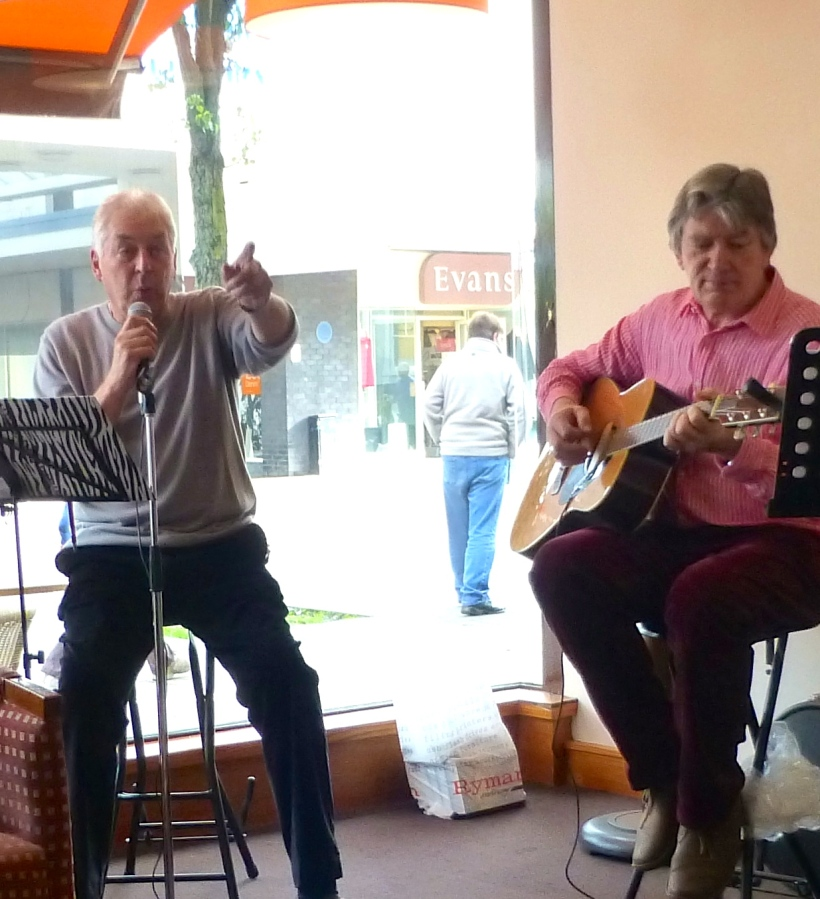 2 Shades of Grey at their first performance in aid of Macmillan Cancer charity at Rhode Island Coffee shop in Burnley