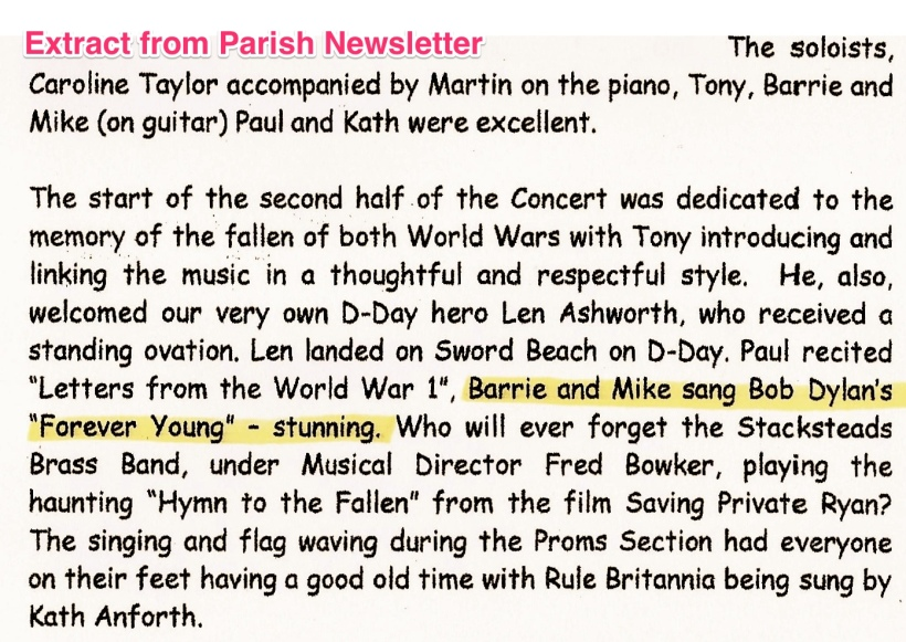 D-Day concert report from Worsthorne Parish magazine