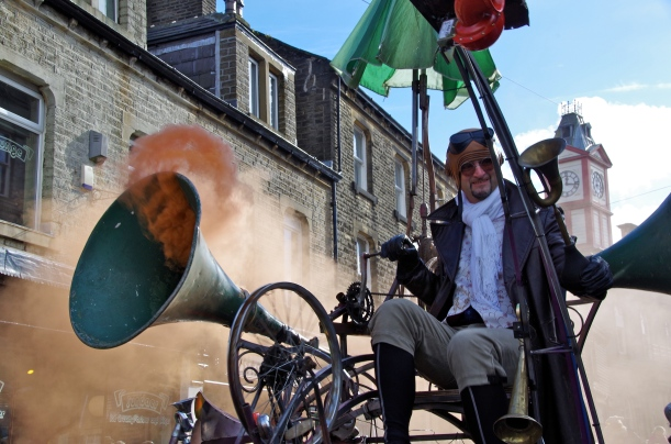 "The strange ""wheely contraption"" bellowing smoke"